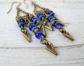 Bohemian Chandeliers,  Long Rustic Earrings, Festival Fashion, Coachella Style, Czech Picasso Glass, Arrow Spikes, Tribal Hippie Boho