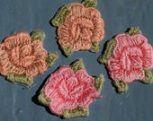 APPLIQUE Vintage Small ROSE PATCH 1980's Peach & Pink Roses Set Of 8