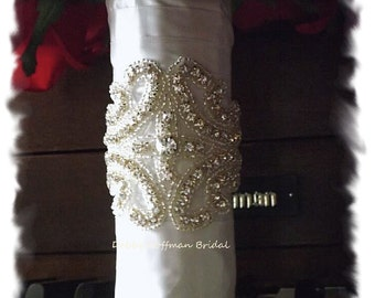 Crystal Bridal Bouquet Wrap, Jeweled Wedding Bouquet Wrap, Beaded Crystal Bridal Bouquet Wrap, Beaded Wedding Bouquet Cuff, No. 1101BW