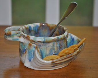 Pottery Soup and Cracker Bowl Stoneware in Tricolor Glaze
