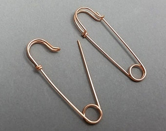 Medium Size Rose Gold Filled Safety Pin Earrings, 1.5 inches long, Choose ONE or a PAIR