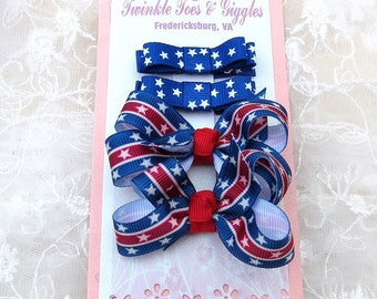 Baby Girls Boutique Hairbows and Hairclippies Combination July 4th Celebration Hair Accessories