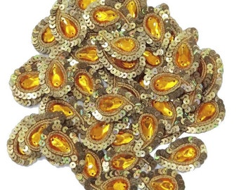 Indian Sequins Appliques Supplies Decorative Sewing Handcrafted Appliquess Orange Paisley Design Sequins Work Crafting Patch 12 Pcs APS55