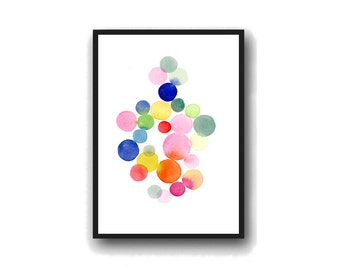 Watercolor colorful dots connected  wall decor watercolor print, nursery room decor, large print
