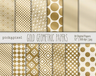 Gold Foil Digital Papers, Geometric Patterns, Gold Papers, Gold Foil Geometric Paper, Backgrounds, Scrapbooking (PP101)