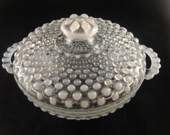 Moonstone Crystal Opalescent Covered Glass Dish