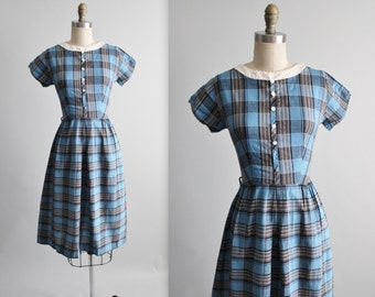 50's Day Dress // Vintage 1950's Fitted Blue Plaid Cotton Fitted Secretary Day Dress S