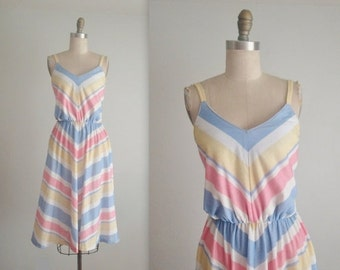 STOREWIDE SALE Vintage Summer Dress // Vintage 70's Chevron Stripe Pastel Casual Day Summer Sun Dress