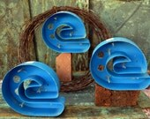 Vintage Metal Marquee Sign Letter Lowercase 'E': Large Azure Blue Single Wall Hanging Initial -- Neon Channel Industrial Advertising Salvage