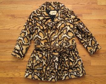 womens vintage animal print faux fur coat