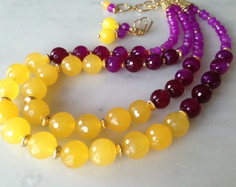 Yellow purple burgundy agate necklace earrings set, gold plated, multi strand, multi color