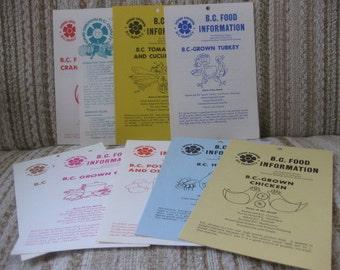 A Set of Nine BC Food Information Recipe Pamphlets