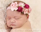 Pink Flower Crown Headband - Baby Flower Crown - Flower Girl Floral Headpiece - Newborn Flower Crown - Adult Flower Headpiece Headband