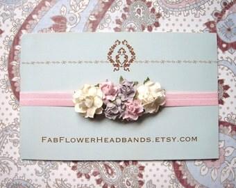 Pink Lavender Ivory Flower Headband - Baby Crown - Flower Girl Headband - Newborn Flower Crown - Floral Headpiece Headband - Flower Crown