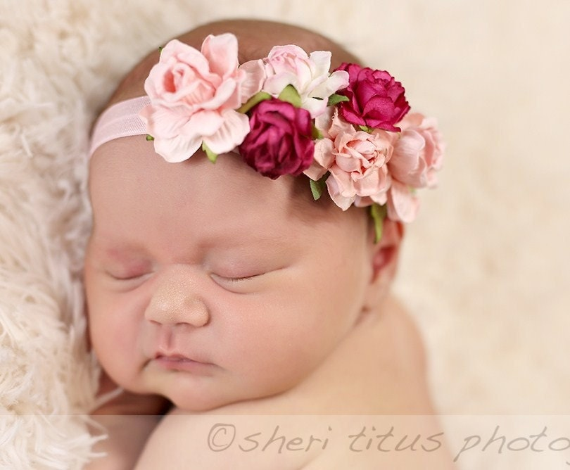 pink flower crown headband baby flower crown flower pink flower crown headband baby flower crown flower
