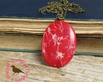 SALE~~Grenadine Red Jasper Pendant Necklace, Long Boho Red Pendant, Long Red Gemstone Necklace, Rustic, by MagpieMadness for Etsy