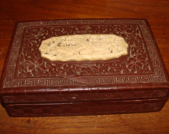 Old Chinese Laquered Carved Box With Inlaid Bone Carving of Bird