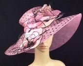 Pink Polka Dot Wide Brim Organza Derby Hat with Jewel Accents