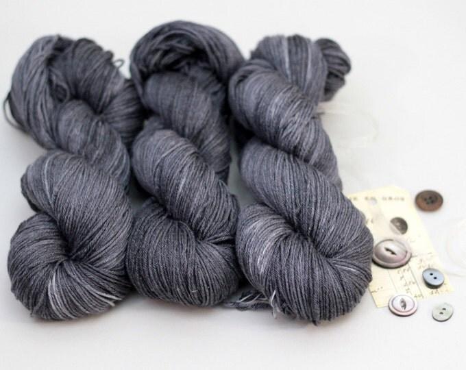 Hand dyed Yarn merino bamboo silk Annabelle sock yarn, Sunbleached Black
