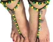 Men's Barefoot sandals, Jamaican Rasta Tribal Beaded Gypsy Soleless Crochet Beach Yoga Festival Pool