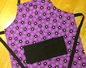 Childs apron purple and black flowers little apron small size cotton kids apron