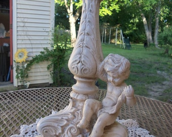 Vintage Plaster Cherub Lamp, Lighting, White