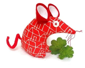 Harry house mouse - Retro Habitat vintage fabric, 70s 80s  Red and white