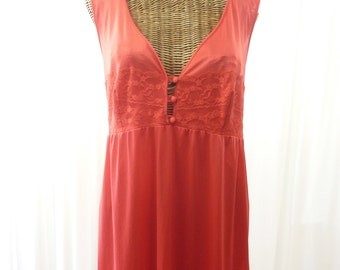 Red Vintage Nightgown Maxi Style New Old Stock Large