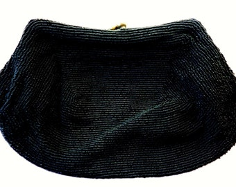 Beaded Clutch Black 1950's Ball Clasp