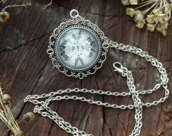 Nature Mandala Pendant Necklace: February Collection (antique silver finish)