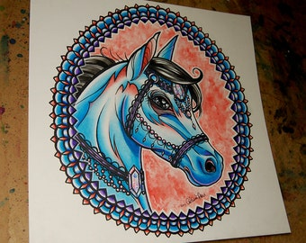 ORIGINAL 11x11 in. Watercolor Painting - Traditional Tattoo Flash Horse Painting - Mandala Frame Equine Portrait