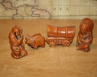Salt and Pepper Shakers - 2 sets of 2 - Western - item #1760