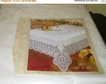 Save 10% Vinyl & Lace Table Cloth - 60 x 90 - Never Used Still In Package