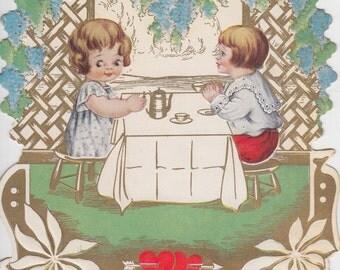 Vintage Valentine Card, Boy & Girl, Tea Party, Red Hearts, Grape Trellis, Die Cut, Deckled Edge Illustration, Paper Ephemera