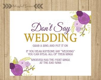 Don't Say Wedding   Ring Game   Bridal Shower Game   Wedding Shower Game   Purple Lavender   Vintage Floral   Shower Printables   BRS02