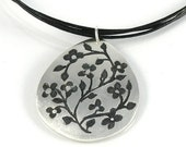 Silver Floral Pendant on Black Leather Cord Mothers Day Gift, Tiny Flowers Sterling Silver Necklace , Miniature Flowers Tear Drop Pendant