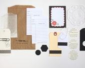 Tag + Embellishment Kit Collection . Black . Filofax Planner Scrapbooking Mixed Media Collage Mini Album Midori Travelers Notebook DIY Kits
