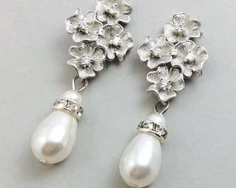 Bridal Earrings In Silver With Cubic Zirconia  And White Swarovski Crystal Teardrop Pearls