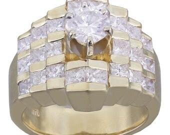 14K Yellow Gold Round and Princess Cut Diamond Engagement Ring Prong Set Bridal Anniversary Wedding Propose 2.70ctw H-VS2 EGL USA