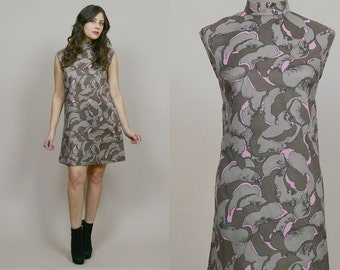Psychedelic Shift Dress 60s Mini Abstract Graphic Print 1960s Mod Hippie Sleeveless Pink Grey / Size L Large