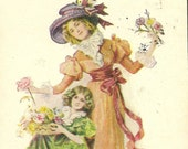 Vintage Friendship Greeting Postcard – 1908 Mother and Child Gather Flowers – Ullman Manufacturing Co