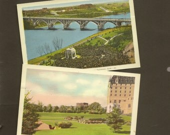 Saskatoon Saskatchewan Pair of Vintage Postcard Unused – Park and Gardens Bessborough Hotel and Broadway Bridge Vimy Memorial Kiwanis Park