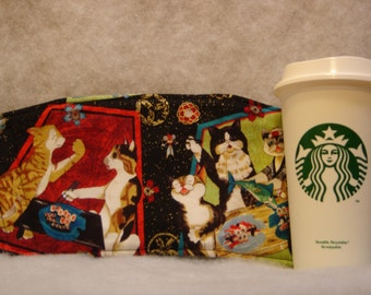 Arti REVERSIBLE Coffee Cup Sleeve, SUSHI  CATS For sTARBUCKS To-Go Cups /with Pocket