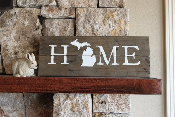 Michigan Home, Reclaimed Wood Sign, MI Sign, Michigan Artwork, Rustic  Michigan Sign - Michigan Home Reclaimed Wood Sign MI Sign Michigan Artwork