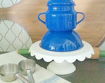 Vintage blue splatter enamel bowl and sugar bowl