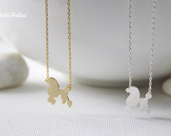 Poodle Necklace in Silver/ Gold. Cute Necklace. Puppy. Layering Necklace. Collarbone Necklace. Sweet 16. Gift For Her (PNL-115)