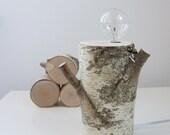 white birch forest lamp - exposed bulb lamp, natural wood lamp, rustic lamp, desk lamp, rustic decor, natural lighting