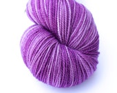 Purple hand-dyed fingering weight yarn   Round Table Yarns Guenevere in Nimue