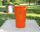 Vintage Tall Tupperware Bright Orange Servalier Canister with Lid