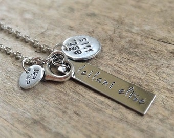 Baby Name Necklace, Mommy Necklace, Child Name, Baby Birth Necklace, Mommy and Me, Mother Daughter, Mother Son, Personalized Baby Necklace
